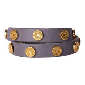 Picture of Silver Leather Wrap with Gold Studs
